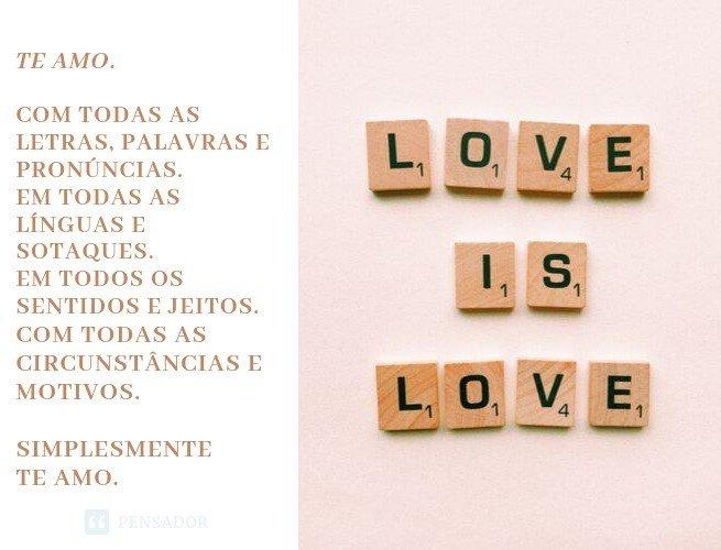 Te amo. Com todas as letras, palavras e pronúncias. Em todas as línguas e sotaques. Em todos os sentidos e jeitos. Com todas as circunstâncias e motivos. Simplesmente, te amo.