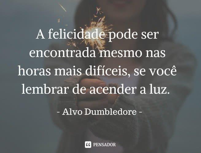 """""""A felicidade pode ser encontrada mesmo nas horas mais difíceis, se você lembrar de acender a luz"""". Alvo Dumbledore"""