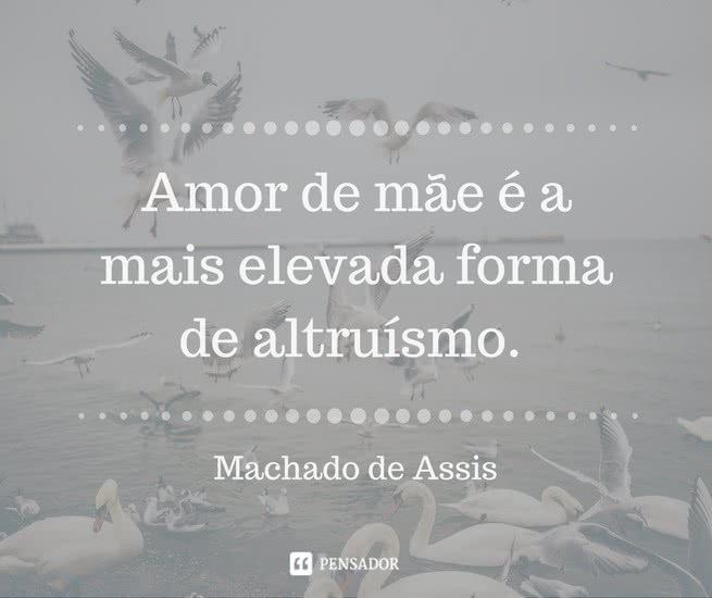 """""""Amor de mãe é a mais elevada forma de altruísmo."""" Machado de Assis"""