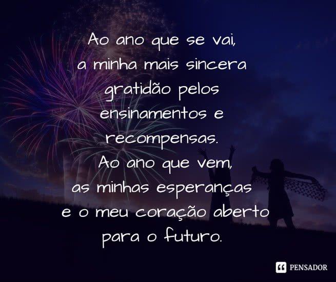Ao ano que se vai, a minha mais sincera gratidão pelos ensinamentos e recompensas. Ao ano que vem, as minhas esperanças e o meu coração aberto para o futuro.