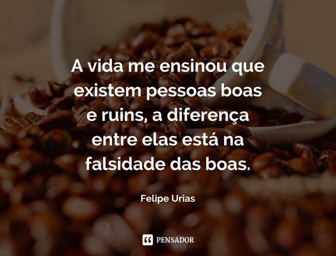 A vida me ensinou que existem pessoas boas e ruins, a diferença entre elas está na falsidade das boas. Felipe Urias