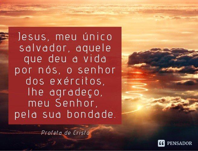 Jesus, meu único salvador, aquele que deu a vida por nós, o senhor dos exércitos, lhe agradeço, meu Senhor, pela sua bondade.  Profeta de Cristo