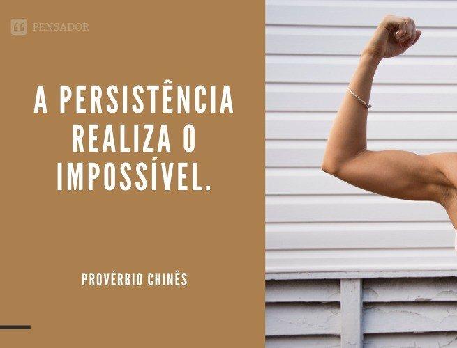 A persistência realiza o impossível.  Provérbio Chinês
