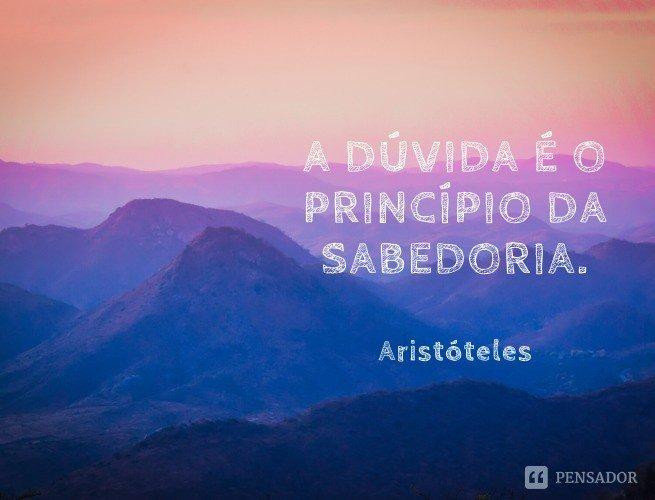 A dúvida é o princípio da sabedoria.  Aristóteles