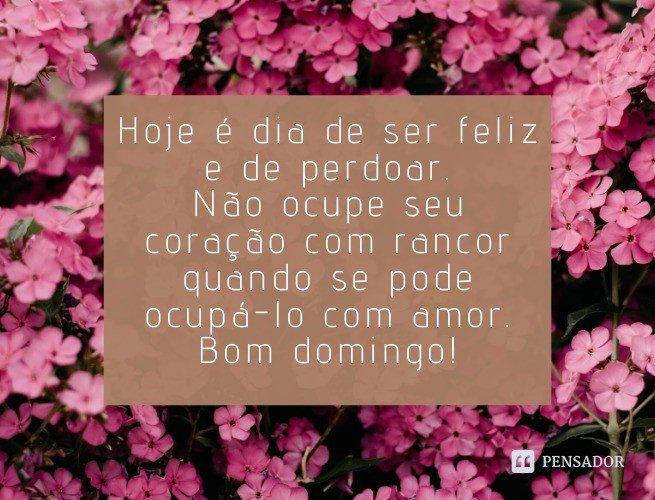 Hoje é dia de ser feliz e de perdoar. Não ocupe seu coração com rancor quando se pode ocupá-lo com amor. Bom domingo!