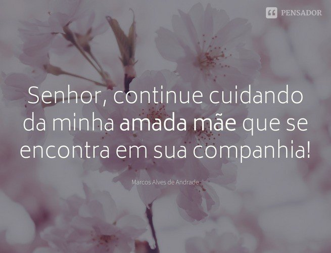 Senhor, continue cuidando da minha amada Mãe que se encontra em sua companhia! Marcos Alves de Andrade