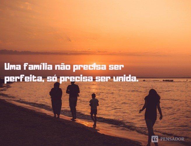Uma família não precisa ser perfeita, só precisa ser unida.