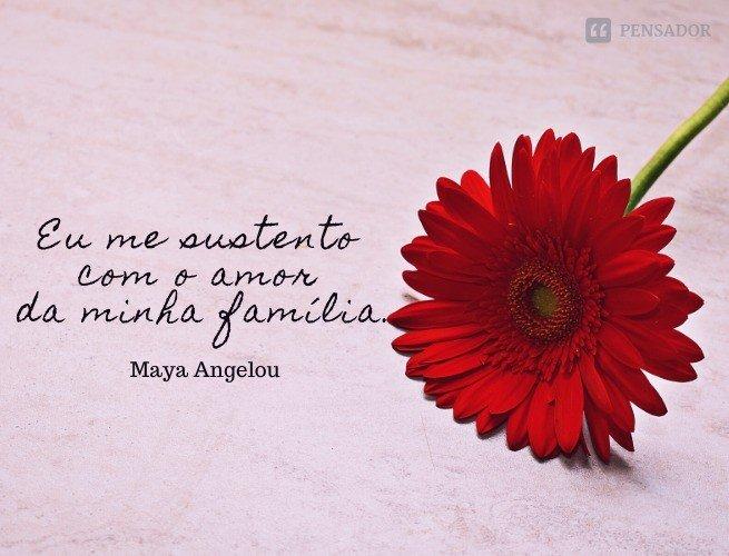 Eu me sustento com o amor da minha família.  Maya Angelou