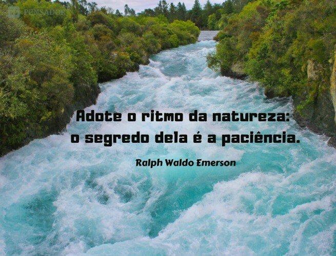 Adote o ritmo da natureza: o segredo dela é a paciência.  Ralph Waldo Emerson