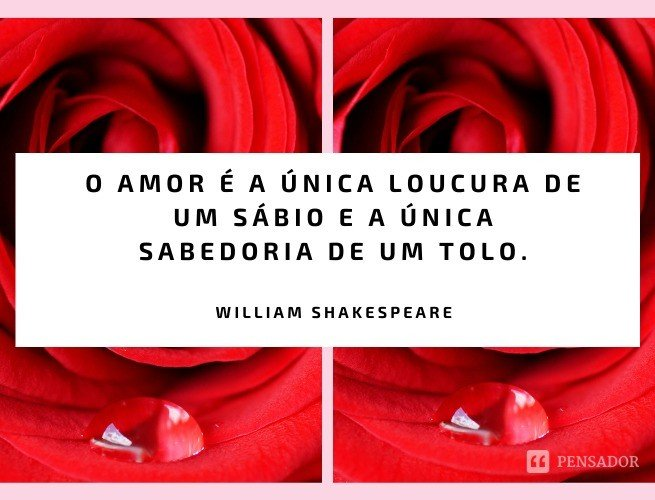 O amor é a única loucura de um sábio e a única sabedoria de um tolo.  William Shakespeare