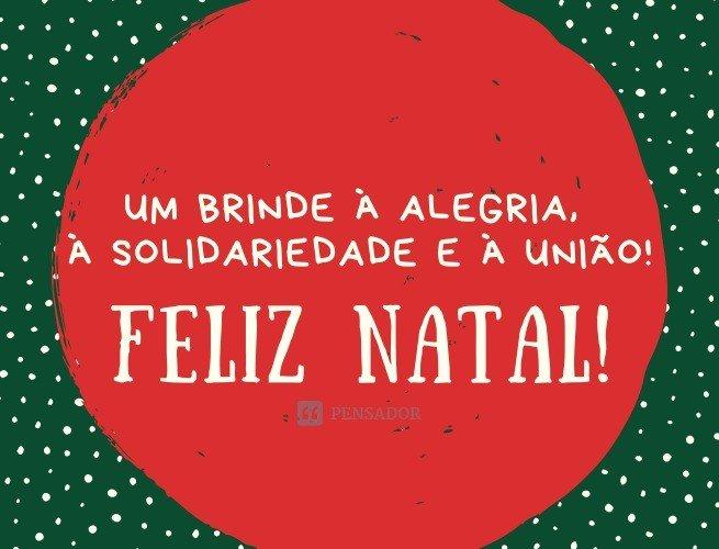 Um brinde à alegria, à solidariedade e à união! Feliz Natal!