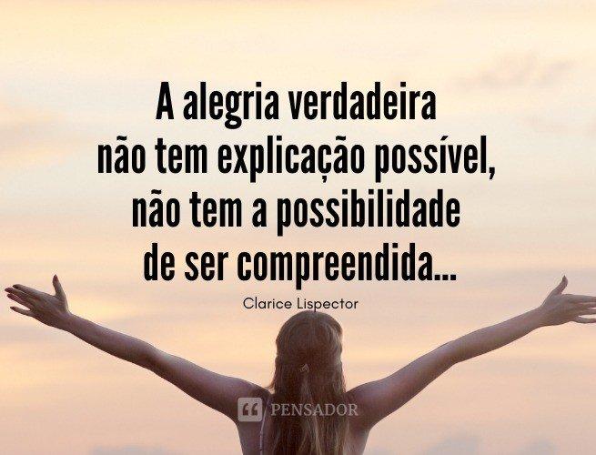A alegria verdadeira não tem explicação possível, não tem a possibilidade de ser compreendida...