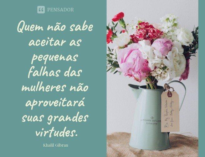 Quem não sabe aceitar as pequenas falhas das mulheres não aproveitará suas grandes virtudes.  Khalil Gibran