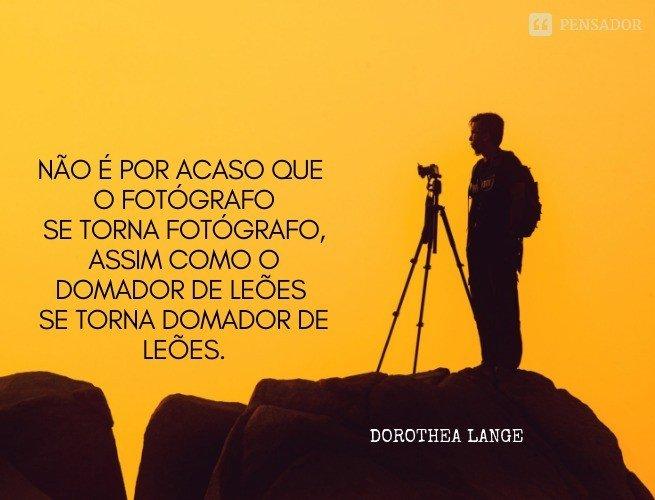Não é por acaso que o fotógrafo se torna  fotógrafo, assim como o domador de leões se torna domador de leões.