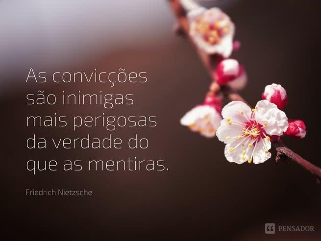 As convicções são inimigas mais perigosas da verdade do que as mentiras.  Friedrich Nietzsche
