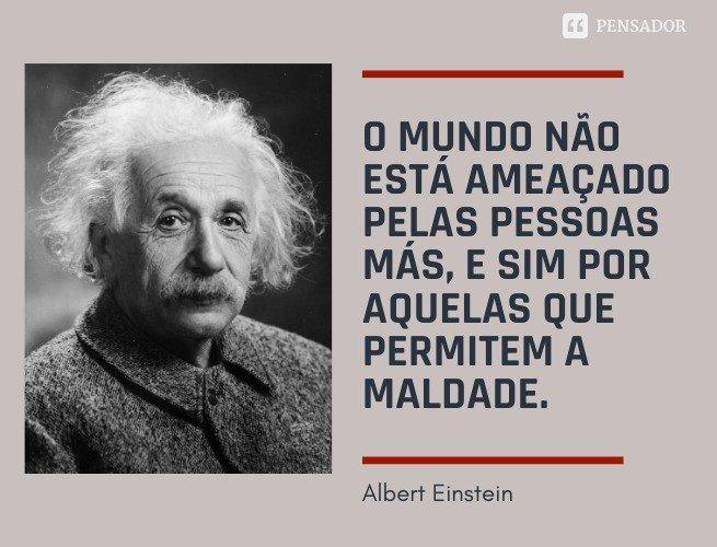 O mundo não está ameaçado pelas pessoas más, e sim por aquelas que permitem a maldade.  Albert Einstein