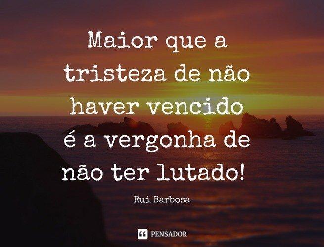 Maior que a tristeza de não haver vencido é a vergonha de não ter lutado! Rui Barbosa