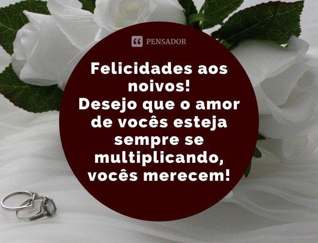 Felicidades aos noivos! Desejo que o amor de vocês esteja sempre se multiplicando, vocês merecem!