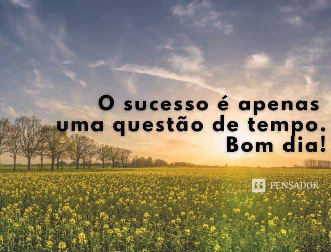 o sucesso é apenas uma questão de tempo. Bom dia!