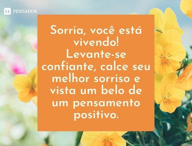 Sorria, você está vivendo! Levante-se confiante, calce seu melhor sorriso e vista um belo de um pensamento positivo.