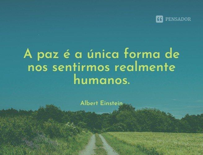 A paz é a única forma de nos sentirmos realmente humanos.  Albert Einstein