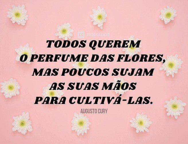 Todos querem o perfume das flores, mas poucos sujam as suas mãos para cultivá-las.  Augusto Cury
