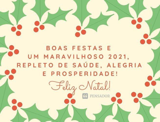 Boas festas e um maravilhoso 2021, repleto de saúde, alegria e prosperidade!