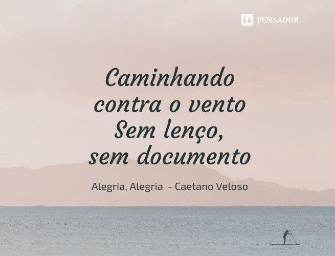 Caminhando contra o vento Sem lenço, sem documento  Alegria, Alegria - Caetano Veloso