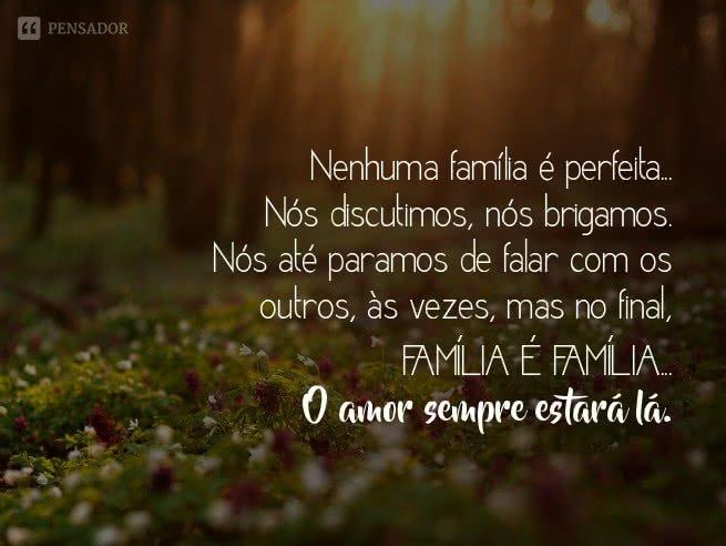 Nenhuma família é perfeita - frase familia