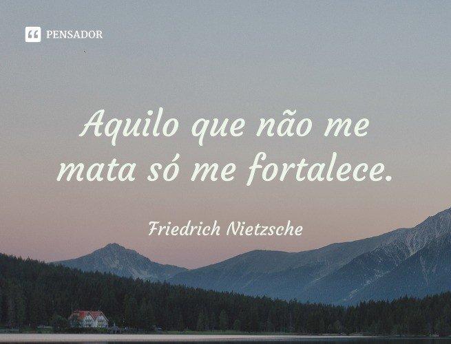 Aquilo que não me mata só me fortalece.  Friedrich Nietzsche