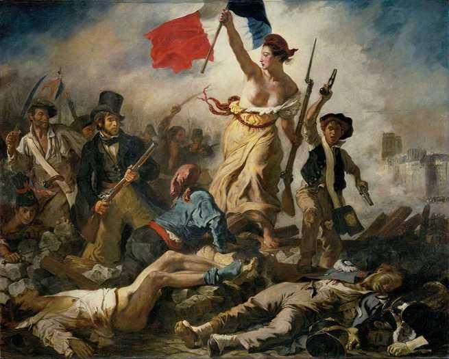 Pintura 'A Liberdade Guiando o Povo' de Eugène Delacroix