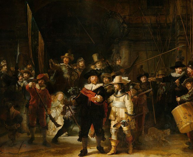 pintura a ronda noturna de Rembrandt