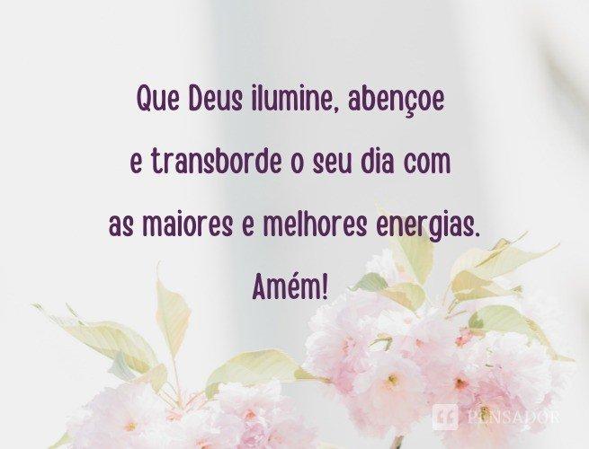 Que Deus ilumine, abençoe e transborde o seu dia com as maiores e melhores energias. Amém!