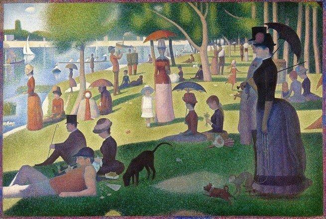 Pintura 'Uma Tarde de Domingo na Ilha de Grande Jatte' de George Seurat