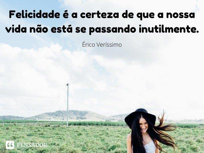 Felicidade é a certeza de que a nossa vida não está se passando inutilmente.  Érico Veríssimo