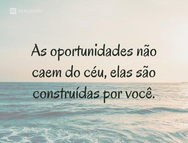 As oportunidades não caem do céu, elas são construídas por você.
