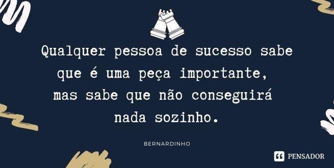 Qualquer pessoa de sucesso sabe que é uma peça importante, mas sabe que não conseguirá nada sozinho.   Bernardinho