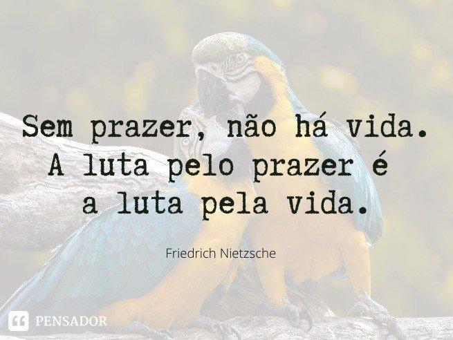 Sem prazer, não há vida. A luta pelo prazer é a luta pela vida.  Friedrich Nietzsche