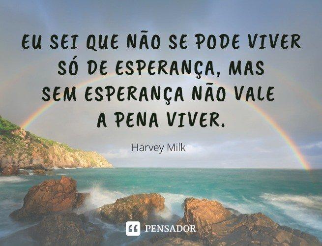 Eu sei que não se pode viver só de esperança, mas sem esperança não vale a pena viver.  Harvey Milk