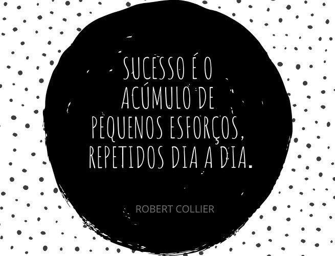 Sucesso é o acúmulo de pequenos esforços, repetidos dia e noite.  Robert Collier