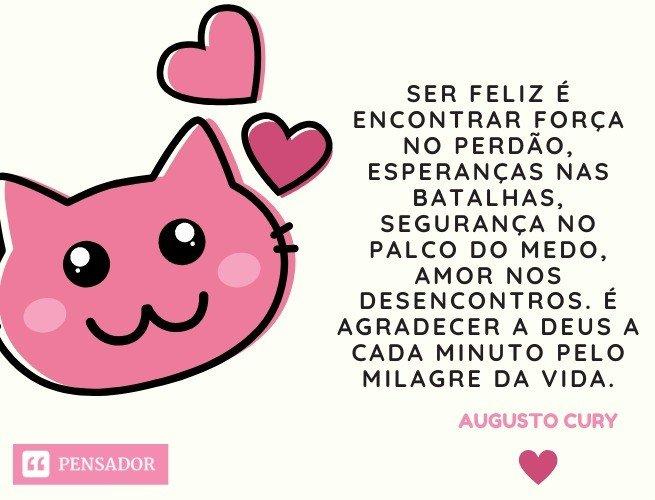 Ser feliz é encontrar força no perdão, esperanças nas batalhas, segurança no palco do medo, amor nos desencontros. É agradecer a Deus a cada minuto pelo milagre da vida. Augusto Cury