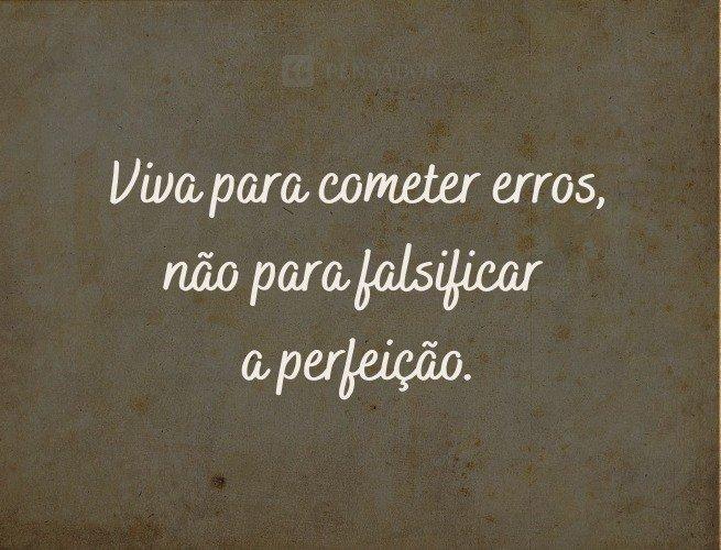 Viva para cometer erros, não para falsificar a perfeição.
