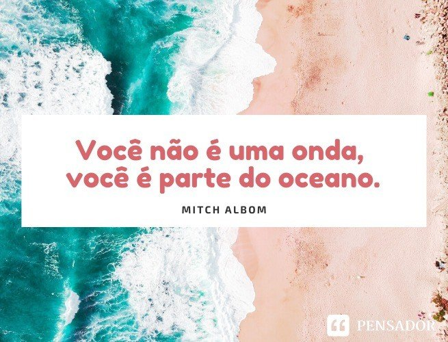 Você não é uma onda, você é parte do oceano.  Mitch Albom