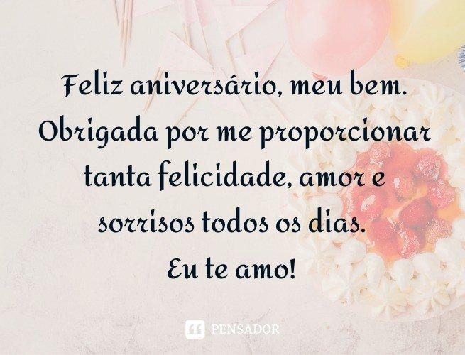 Feliz aniversário, meu bem. Obrigada por me proporcionar tanta felicidade, amor e sorrisos todos os dias. Eu te amo!