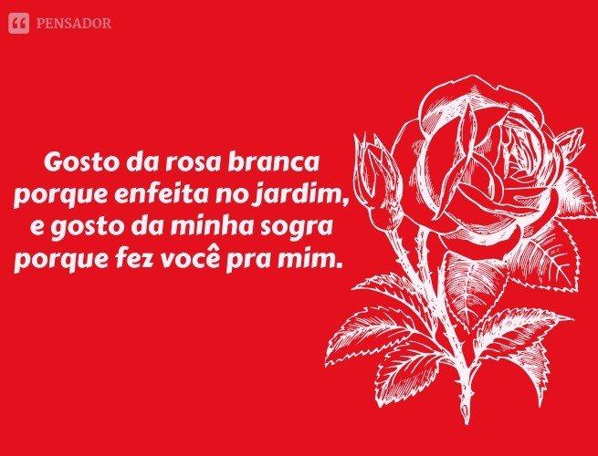 Gosto da rosa branca porque enfeita no jardim, e gosto da minha sogra porque fez você pra mim.