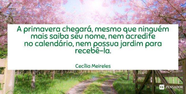 A primavera chegará, mesmo que ninguém mais saiba seu nome, nem acredite no calendário, nem possua jardim para recebê-la.  Cecília Meireles