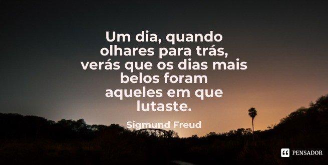 Um dia, quando olhares para trás, verás que os dias mais belos foram aqueles em que lutaste.  Sigmund Freud